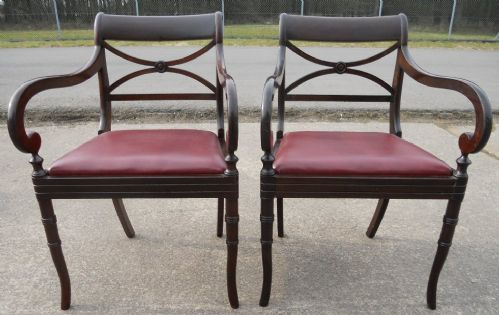 Pair Mahogany Carver Desk Armchairs